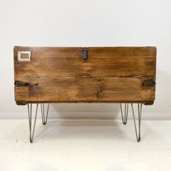 Vintage Military Trunk Upcycled Media Cabinet
