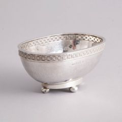 A E Jones Solid Silver Arts and Crafts Bowl, Birmingham Hallmarks for 1917