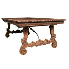Antique Carved Walnut Baronial Table c.1850
