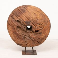 Antique Cart Wheel on Stand from Rajasthan