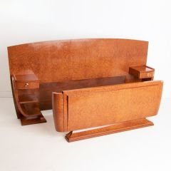 French Art Deco Bed in Amboyna Wood c.1925