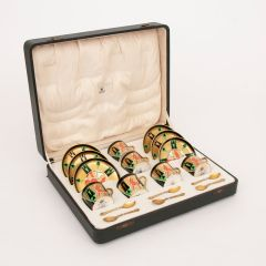 Art Deco Boxed Crown Devon 'Orient' Coffee Set with Mappin & Webb Silver Gilt Spoons c.1930