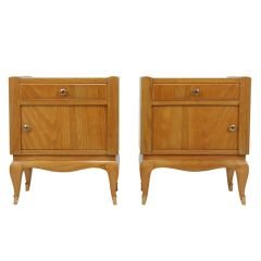 French Art Deco Cherry Bedside Cabinets