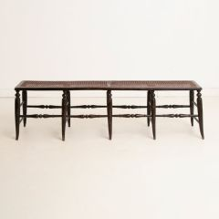 Arts & Crafts Wicker & Ebonised Wooden Bench