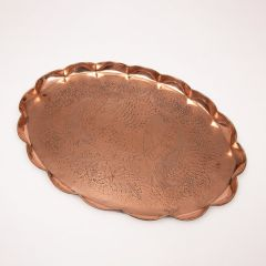 Beaten Brass Oval Tray with Fluted Edges