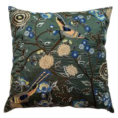Cushion with Bird and Floral Embroidery