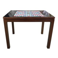 Black Gloss Formica Topped Scrabble Table Upcycled by Lucy Turner