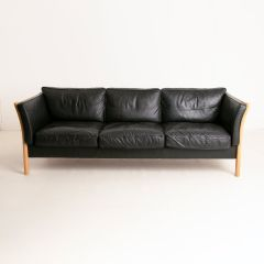 Black Leather Sofa by Stouby c.1960
