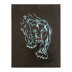 Black Marble Tiger Panel with Blue Coral Inlay