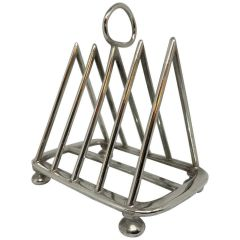 An English silver plate toast rack in a triangular pyramid shape divided into four sections with room for four slices of toast.  Circa 1900.  Made in Sheffield by Walker & Hall.  Hallmarked on the base.