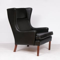 Danish Midcentury Leather Wingback Chair