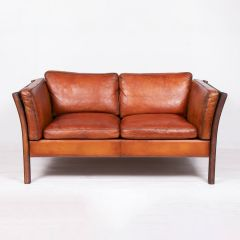 Vintage Danish Leather Sofa by Stouby c.1970