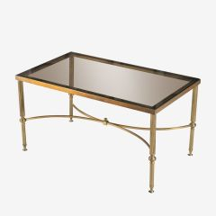 French Hollywood Regency Maison Jansen Style Brass & Glass Coffee Table c.1970
