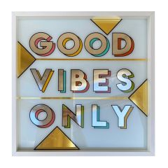Framed Hand Painted Good Vibes Only Sign