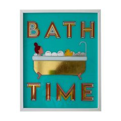 Framed Hand Painted Bath Time Sign