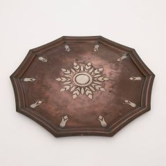 French Art Deco Bronze Tray with Silver Inlay by Luc Lanel for Christofle c.1930