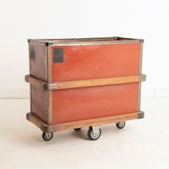 French Factory Textile Storage Box on Wheels c.1940