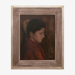 French Signed Oil Portrait c.1920
