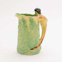 Art Deco Hand Painted Flower Jug with Pheasant Handle By Burleigh Ware c.1930