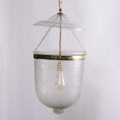 Hand Etched Frosted Hundi Lamp with Floral Detail