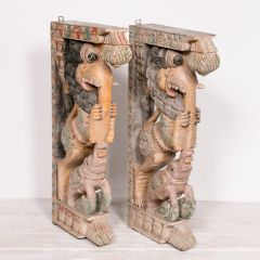 Pair of Indian Painted Yali Brackets from Tamil Nadu