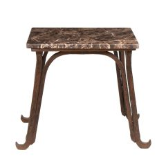 Industrial Base Coffee Table with Marble Top