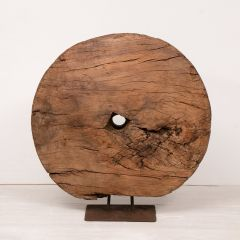 Large Antique Cart Wheel on Stand from Rajasthan