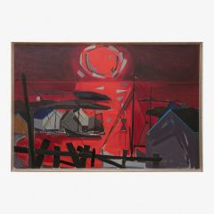 Mid 20th Century Abstract Oil on Canvas Harbour Scene