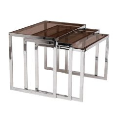 Midcentury Chrome & Smoked Glass Nest of Tables by Howard Miller c.1970