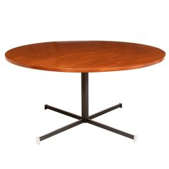 Midcentury Circular Dining Table with Chromed Steel Base