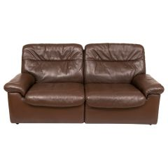 Midcentury DeSede Chocolate Brown Leather Sofa