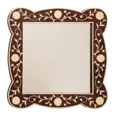 Indian Rosewood Framed Mirror with Bone Inlay