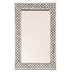 Indian Black Resin Framed Mirror with Mother Of Pearl Inlay