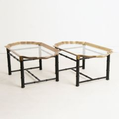 Vintage Faux Bamboo & Brass Side Tables