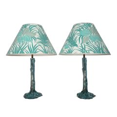 Vintage Turquoise Resin Table Lamps c.1970