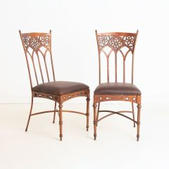 Pair of Arts & Crafts Style Chairs with Leather Seats