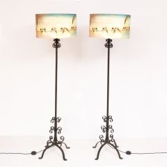 Pair of Vintage Floor Lamps with New Shades by Lily Greenwood