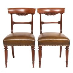 Pair of Regency Mahogany Chairs in Green Leather c.1820