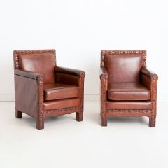 Pair of Vintage Moroccan Style Studded Leather Chairs