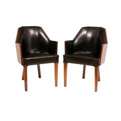 Pair of Walnut Art Deco Salon Chairs with Leather Upholstery, British c.1930