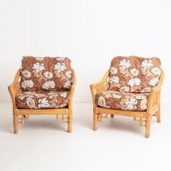 Vintage Rattan Chairs Upholstered in William Morris Fabric