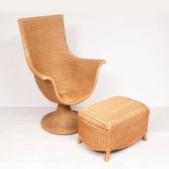 Retro Cane High Back Chair & Footstool