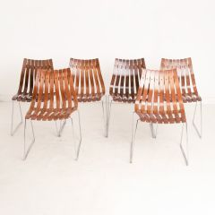 Midcentury Slatted Rosewood Scandia Dining Chairs by Hans Brattrud for Hove Mobler c.1960