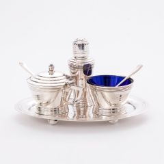 British Art Deco Silver Plate Cruet Set with Tray by Keith Murray for Mappin & Webb c.1930
