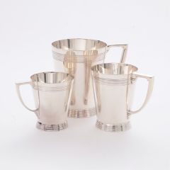British Art Deco Silver Plate Art Deco Tankards By Keith Murray for Mappin & Webb c.1930
