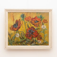 Study of Poppies Oil on Board by Dorothy Twine Signed & Dated 1971