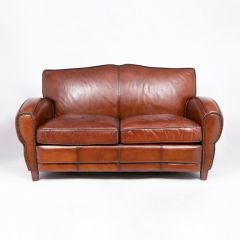 Two Seater Moustache Leather Sofa by Halo
