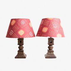 Pair of Upcycled  Mid 19th Century Painted Charpoy Leg Lamps