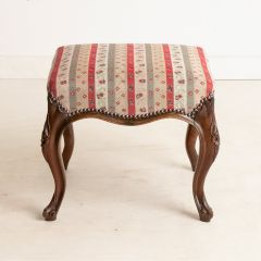 Newly Upholstered Victorian Rosewood Footstool on Cabriole Legs
