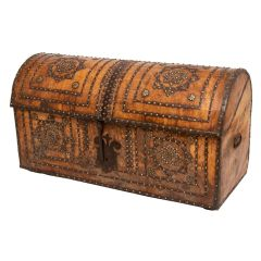 Early 19th Century Goat Skin Studded Trunk with Domed Top